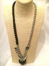 STATEMENT Long Black Silver LOVE HEARTS Beaded Faux Pearl Chain Necklace Pendant