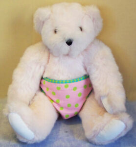 """VERMONT Teddy Bear 15"""" Baby GIRL with PINK Fur and Diaper and VERMONT EYES"""