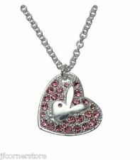 Designer BNWT Playboy Heart Necklace with Swarovski Crystal Bunny Logo (CN3147)