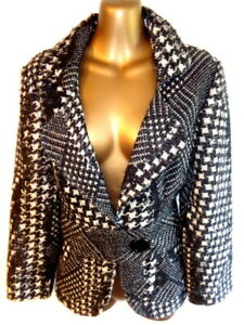 Joseph Ribkoff UK12 Black & whitecontrast check winter fitted jacket (3425