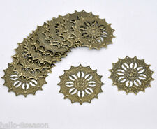 50 Hello Bronze Tone HOTSELL Filigree Flower Wraps Connectors 43mm