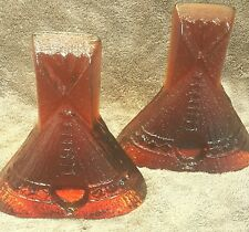 Art Deco Amberina Glass Teepee Bookends