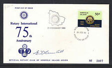 NORFOLK ISL FDC: 1980 ROTARY INTERNATIONAL 75th ANNIVERSARY SIGNED L/ED