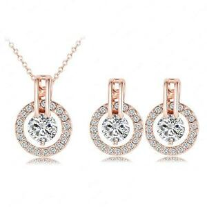 Jewelry Sets Real 18K Rose Gold Plated Austrian Crystal Necklace Pendant/Earring