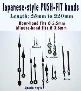 CLOCK HANDS, Pointers for quartz clocks, PUSH-FIT Round fittings Ø 5.5 & 3.6mm