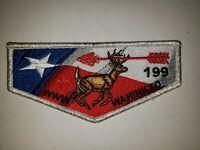 Boy Scout OA 199 Wahinkto Lodge Silver Mylar Border Dues Flap