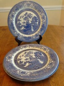 VINTAGE ENGLISH IRONSTONE TABLEWARE BLUE WILLOW DINNER PLATES LOT OF 4