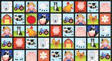 Apple Tree Farm By the yard Barn Tractor Barnyard  5in squares Blank Quilting