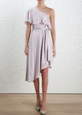 Zimmermann Sueded Silk Dress Cocktail One Shoulder Lavender  NWT 0