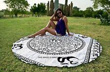 Om Ohm Round Mandala Hippie Indian Cotton Tapestry Bohemian Beach Throw Yoga Mat