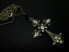 "A MADONNA STYLE  BRONZE CRYSTAL CROSS NECKLACE. GOTH. 27"" LONG. NEW."