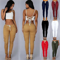 Women's Casual Pencil Pants Skinny High Waist Pockets Cargo Jogger Slim Trousers
