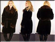 New Sheared Mink Fur Coat Russian Sable Fur Collar Fur Cuffs Size XL Extra Large