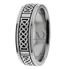 Black Celtic Knot Wedding Band Gold Solid 10K Gold Mens Wedding Ring 7mm