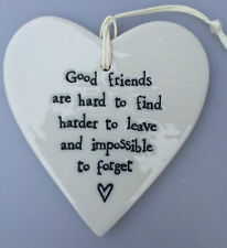 EAST OF INDIA -Porcelain Hanging Heart~Six Designs, Love,Friends,Rainbows