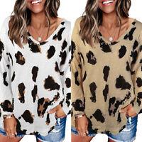 Womens Leopard Print Sweatshirt Jumper Pullover Ladies V Neck Long Sleeve Tops