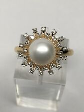 New 14K Yellow Gold 8mm Cultured Pearl and 0.20ct Diamond Halo Ring Size 7