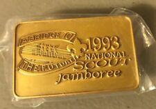 BSA, national jamboree 1993 neckerchief slide metal, new, a bridge to the future