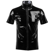 Unisex Mens Metallic Wet Look Leather T-Shirt Top Club Wear Zip Up Fancy Dress