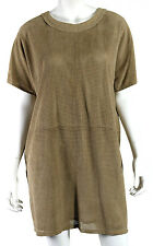 PROENZA SCHOULER Light Brown Laser-Cut Suede Short Sleeve Shift Dress 10
