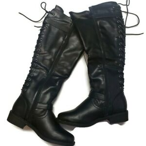 Womens Kaydee Tall Lace Up Side Zipper Black Boots Strap & Buckle Detail Size 6