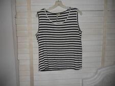 Comfy USA ~ Art to Wear ~ Black & White Stripe Tank/Shell/Cami ~ L