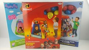 Peppa Pig,Thomas & Friends, Incredibles 2 Inflatable Playland w 20 Soft balls