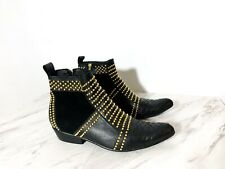 EUC ANINE BING Charlie Gold Studded Lambskin & Suede Booties Boots 38 $699