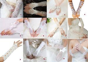Ladies Gorgeous Wedding bridal ivory white fingerless satin Lace Diamonte gloves