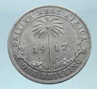 1917 British WEST AFRICA UK King George V Genuine Silver Shilling Coin i78357