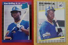 1989 Ken Griffey Jr Rookie Card Lot (2) Donruss Fleer Mariners 🔥 FREE SHIPPING!