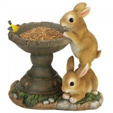 Playful Bunnies Bird Bath Seed Feeder Garden Patio Statue Outdoor Lawn Art