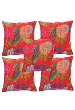 5pc Red kantha Pillow,kantha cushion for sofa couch,Gypsy Boho Bohemian Cushions
