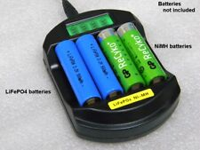 4-channel Charger for LiFePO4 and NiMH AA/AAA batteries LCD 12V/5V USB input