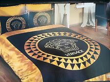 New Version Versace bedding set Duver cover Satin Black  and Gold luxurry box