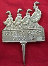 Metal Country Goose Crossing Metal Yard / Garden Sign Plaque decor Olee