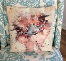 "Pink & Ivory White Ostrich 17"" Decorative Throw Pillow Cover Sham Farmhouse Bird"