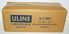 """1000 Uline Door Hanger / Doorknob Bags 2 Mil Ldpe 4"""" X 10"""" + 1/2"""" S-11001 Clear"""