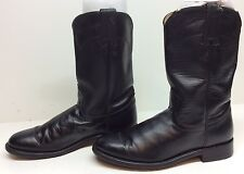 WOMENS JUSTIN COWBOY LEATHER BLACK BOOTS SIZE 7 B