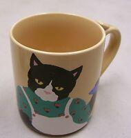 Paris Bottman Cat Kitten Fish Coffee Mug Cup 1988 Japan Vintage