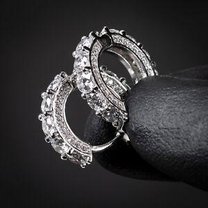 Men's Big Stone Fully Iced CZ White Gold Sterling Silver Huggie Hoop Earrings