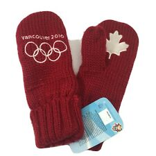NEW 2010 Winter Olympics Red Canadian Maple Leaf Vancouver Mittens Adult SZ S/M