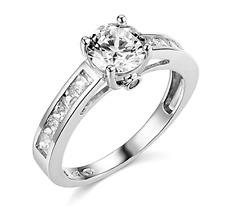 2.20 Ct Round Cut Engagement Wedding Ring Real 14K White Gold Diamond Simulation