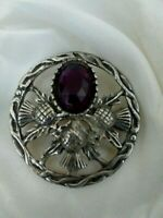 Vintage Oval Amethyst Glass Thistle Flower Silver Tone Celtic Brooch Lapel Pin