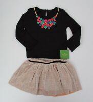 NWT Kate Spade Girls LS Faux Necklace Metallic Gold Skirt Set 12m 18m 24m NEW