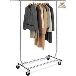 Whitmor Adjustable Heavy Duty Commercial Chrome Garment Rack Collapsible