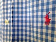 ☀️Ralph Lauren Shirt ~ Classic Fit PINK POLO PONY ~ Blue Gingham Check ~Men's XL
