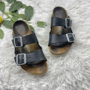 Birkenstock x J.CREW Big Buckle Arizona Black Sandals Size 38 Narrow
