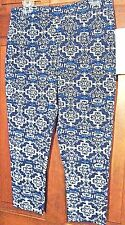 NEW ONQUE CASUAL BLUE, NAVY AND WHITE STRETCH WOMENS/GIRLS JEGGINGS SIZE LARGE