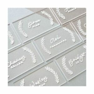 UNIQOOO 120 Count Clear Acrylic Escort Place Cards - Rectangle Shape